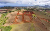 An aerial view of farmland near Hanama'ulu, Kaua'i