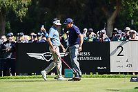 Bubba Watson (USA) & Phil Mickelson (USA) In action during the second round of the The Genesis Invitational, Riviera Country Club, Pacific Palisades, Los Angeles, USA. 13/02/2020<br /> Picture: Golffile | Phil Inglis<br /> <br /> <br /> All photo usage must carry mandatory copyright credit (© Golffile | Phil Inglis)