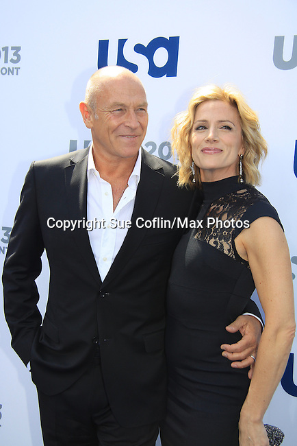 Corbin Bernsen & Kirsten Nelson - Psych - USA Network's 2013 Upfront Event with actors from White Collar, Psych, Necessary Roughness, Royal Pains, Suits, Burn Notice, Covert Affairs and now joined by Modern Family on May 16, 2013 at Pier 36, New York City, New  (Photo by Sue Coflin/Max Photos)