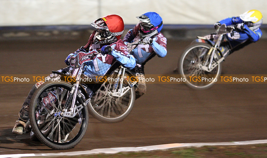 Heat 7: Kauko Nieminen (red), Robert Mear (blue) and Daniel King (yellow) - Lakeside Hammers vs Ipswich Witches, Elite League Speedway at the Arena Essex Raceway, Purfleet - 10/04/09 - MANDATORY CREDIT: Rob Newell/TGSPHOTO - Self billing applies where appropriate - 0845 094 6026 - contact@tgsphoto.co.uk - NO UNPAID USE.