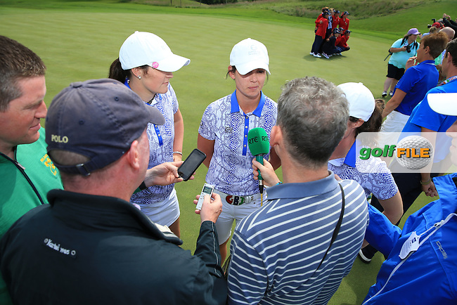 Media attention for the Irish players after winning the 2016 Curtis Cup, played at Dun Laoghaire GC, Enniskerry, Co Wicklow, Ireland. 12/06/2016. Picture: David Lloyd | Golffile. <br /> <br /> All photo usage must display a mandatory copyright credit to &copy; Golffile | David Lloyd.