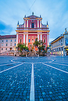 Ljubljana at night. Preseren Square (Trg) and the Franciscan Church of the Annunciation, Ljubljana, Slovenia, Europe