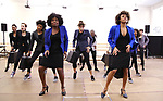 """LaChanze and Ariana DeBose with cast during the press presentation for  """"Summer: The Donna Summer Musical"""" on March 8, 2018 at the New 42nd Street Studios,  in New York City."""