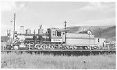 fireman's-side view of D&amp;RGW #268 on the Gunnison turntable.<br /> D&amp;RGW  Gunnison, CO  Taken by Kindig, Richard H. - 8/18/1952