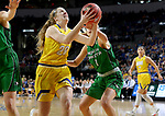 SIOUX FALLS, SD - MARCH 7: Tori Nelson #20 of the South Dakota State Jackrabbits drives to the hoop against Jaclyn Jarnot #1 of the North Dakota Fighting Hawks at the 2020 Summit League Basketball Championship in Sioux Falls, SD. (Photo by Dave Eggen/Inertia)