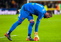 Hull City's goalkeeper Allan McGregor (1) picks up the protest balls during the Sky Bet Championship match between Hull City and Sheff United at the KC Stadium, Kingston upon Hull, England on 23 February 2018. Photo by Stephen Buckley / PRiME Media Images.