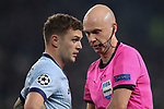 Kieran Trippier of Atletico Madrid and the referee Anthony Taylor during the UEFA Champions League match at Juventus Stadium, Turin. Picture date: 26th November 2019. Picture credit should read: Jonathan Moscrop/Sportimage