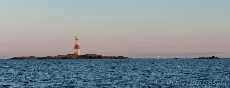 Jussarö Lighthouse guards the southern archipelago of Finland as Silja Line passes by.