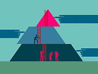 Helping hands moving ladders for business people to climb up pyramid