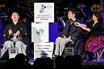 (L to R) Kabuki star Ichikawa Ebizo and creative director Yoshiaki Sawabe, speak during the 1000 Days to Go! cultural event in front of Tokyo Station on November 26, 2017, Tokyo, Japan. Japanese celebrities attended the event marking the 1000-day countdown to the 2020 Tokyo Olympics. (Photo by Rodrigo Reyes Marin/AFLO)