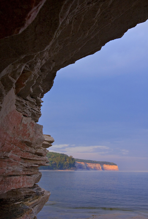 The sandstone shoreline of Mosquito Beach in Pictured Rocks National Lakeshore near Munising, Mich.