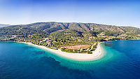 The beach Agios Dimitrios of Alonissos island from drone view, Greece