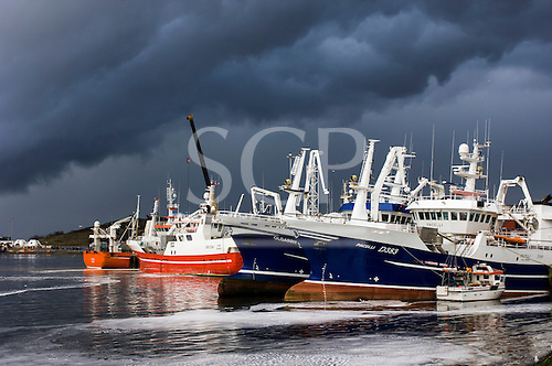 Ireland. Commercial fishing boats blue and white and red and white in the sun.