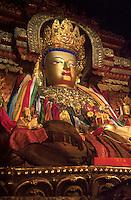 Golden Buddha altar at Pelkor Chode Monastery Gyantse Tibet.