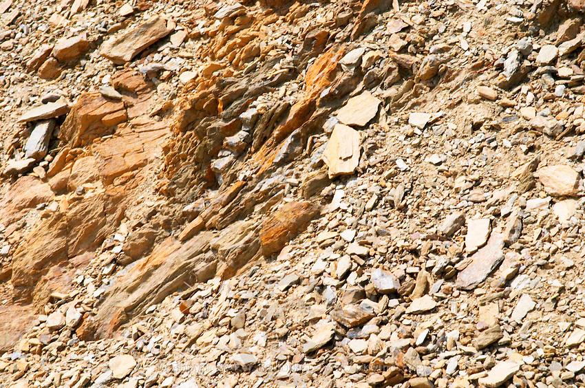 Domaine Coume del Mas. Banyuls-sur-Mer. Roussillon. Terroir soil. Schiste. France. Europe. Vineyard. Schist. Schist slate soil.