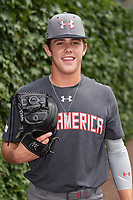 DL Hall (3) of Houston County High School in Warner Robins, Georgia poses for a photo before the Under Armour All-American Game presented by Baseball Factory on July 23, 2016 at Wrigley Field in Chicago, Illinois.  (Mike Janes/Four Seam Images)