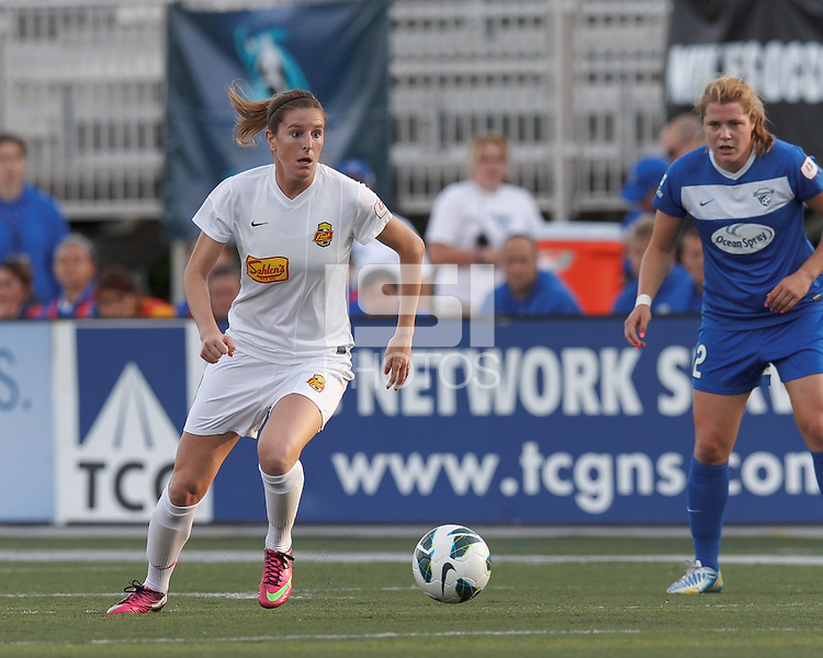 Western New York Flash forward Adriana Martin (8) on the attack.  In a National Women's Soccer League Elite (NWSL) match, the Boston Breakers (blue) tied Western New York Flash (white), 2-2, at Dilboy Stadium on June 5, 2013.