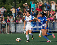 Boston, MA - Saturday August 19, 2017: Camila Martins Pereira, Margaret Purce during a regular season National Women's Soccer League (NWSL) match between the Boston Breakers (blue) and the Orlando Pride (white/light blue) at Jordan Field. Orlando Pride defeated Boston Breakers, 2-1.