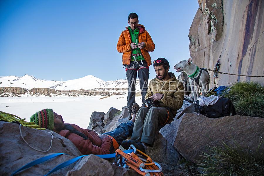 Carlos Lastra, Lucho Birkner, Tomas Contreras chilling at the base of Gran Pared (main sector); Valle des los Condores.