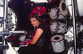 DIO - drummer Vinny Appice - on various dates of the Sacred Heart Tour of the USA - 1985.  Photo credit: PG Brunelli/IconicPix