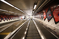 NEW YORK, NY - MARCH 19: A man goes down the escalator of one of the subway stations on March 19, 2020 in New York City. Gov Cuomo has ordered nonessential businesses in the state to close by 8 p.m. Sunday as more than 11,000 confirmed cases and 56 deaths. (Photo by Pablo Monsalve / VIEWpress via Getty Images)