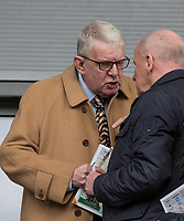 John Motson chats to Alan Parry during the Sky Bet League 2 match between Barnet and Wycombe Wanderers at The Hive, London, England on 17 April 2017. Photo by Andy Rowland.