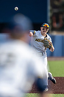 Michigan Wolverines shortstop Jack Blomgren (2) makes a throw to first base against the San Jose State Spartans on March 27, 2019 in Game 1 of the NCAA baseball doubleheader at Ray Fisher Stadium in Ann Arbor, Michigan. Michigan defeated San Jose State 1-0. (Andrew Woolley/Four Seam Images)