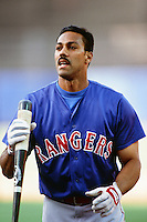 Juan Gonzalez of the Texas Rangers during a game against the Los Angeles Dodgers at Dodger Stadium circa 1999 in Los Angeles, California. (Larry Goren/Four Seam Images)