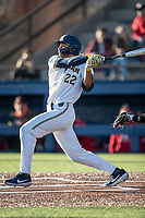 Michigan Wolverines outfielder Jordan Brewer (22) follows through on his swing against the Rutgers Scarlet Knights on April 26, 2019 in the NCAA baseball game at Ray Fisher Stadium in Ann Arbor, Michigan. Michigan defeated Rutgers 8-3. (Andrew Woolley/Four Seam Images)