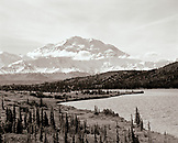 USA, Alaska, view Mount McKinley and the Denali Range with Mirror Lake in the foreground, Denali National Park