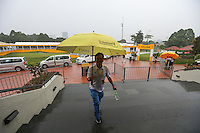 Play is suspended during the Final Round with grumbling thunderstorms and heavy rain, at the 2014 Maybank Malaysian Open at the Kuala Lumpur Golf & Country Club, Kuala Lumpur, Malaysia. Picture:  David Lloyd / www.golffile.ie