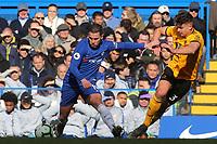 Eden Hazard of Chelsea tries to break away from Leander Dendoncker of Wolverhampton Wanderers during Chelsea vs Wolverhampton Wanderers, Premier League Football at Stamford Bridge on 10th March 2019