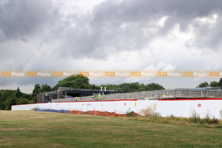 A general view of the new dressing room structure as it takes shape on the South Marsh - Construction work is carried out at Hackney Marshes, Hackney, London prior to the 2012 Olympics - 04/08/10 - MANDATORY CREDIT: Gavin Ellis/TGSPHOTO - Self billing applies where appropriate - Tel: 0845 094 6026