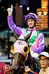 #1 Jockey Zac Purton riding Aeroluminance celebrates after winning race 1 during the Hong Kong Racing at Happy Valley Race Course on June 13, 2018 in Hong Kong, Hong Kong. Photo by Marcio Rodrigo Machado / Power Sport Images