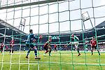 13.04.2019, Weserstadion, Bremen, GER, 1.FBL, Werder Bremen vs SC Freiburg<br /> <br /> DFL REGULATIONS PROHIBIT ANY USE OF PHOTOGRAPHS AS IMAGE SEQUENCES AND/OR QUASI-VIDEO.<br /> <br /> im Bild / picture shows<br /> Tor 1:0, Davy Klaassen (Werder Bremen #30) mit Kopfball zum 1:0 gegen Alexander Schwolow (SC Freiburg #01), Nico Schlotterbeck (SC Freiburg #49) wird von Klaassen angeköpft, <br /> aufgenommen mit remote / Hintertorkamera, <br /> <br /> Foto © nordphoto / Ewert
