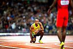 Engeland, London, 4 Augustus 2012.Olympische Spelen London.Finale 100 meter Mannen .Asafa Powell uit Jamaica wordt achtste in de finale van de 100 meter