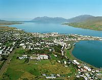 Akureyri séð til norðurs. Eyjafjörður...Akureyri viewing north. Eyjafjordur.