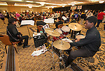 Members of the Waltrip High School Jazz Band perform during the Houston ISD Food Service's Nutrition Innovation Food Show at the Brookhollow Sheraton, October 24, 2013.