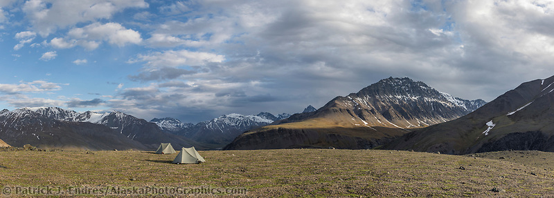 Panorama of mountain campsite near the headwaters of the North Fork of the Koyukuk River, Gates of the Arctic National Park, Alaska