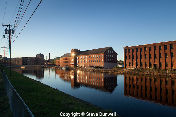 Valley Paper Co. (1864), sunset, Holyoke, MA mills 2nd level canal (Hampden mill on R)