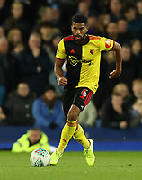29th October 2019; Goodison Park, Liverpool, Merseyside, England; English Football League Cup, Carabao Cup Football, Everton versus Watford; Adrian Mariappa of Watford brings the ball out to set up an attack - Strictly Editorial Use Only. No use with unauthorized audio, video, data, fixture lists, club/league logos or 'live' services. Online in-match use limited to 120 images, no video emulation. No use in betting, games or single club/league/player publications