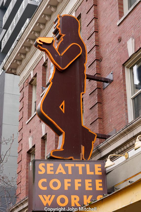 Seattle Coffee Works coffee shop sign  in downtown Seattle, Washington, USA