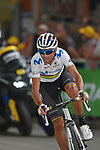 World Champion Alejandro Valverde (ESP) Movistar Team takes the final bend at the end of Stage 18 of the 2019 Tour de France running 208km from Embrun to Valloire, France. 25th July 2019.<br /> Picture: John Pierce/PhotoSport Int. | Cyclefile<br /> All photos usage must carry mandatory copyright credit (© Cyclefile | John Pierce/PhotoSport Int.)