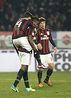Calcio, quarti di finale di Coppa Italia: Alessandria vs Milan. Torino, stadio Olimpico, 26 gennaio 2016.<br /> AC Milan's Mario Balotelli, center, celebrates with teammates Jose Mauri, left, and Keisuke Honda, after scoring on a penalty kick during the Italian Cup semifinal first leg football match between Alessandria and AC Milan at Turin's Olympic stadium, 26 January 2016.<br /> UPDATE IMAGES PRESS/Isabella Bonotto