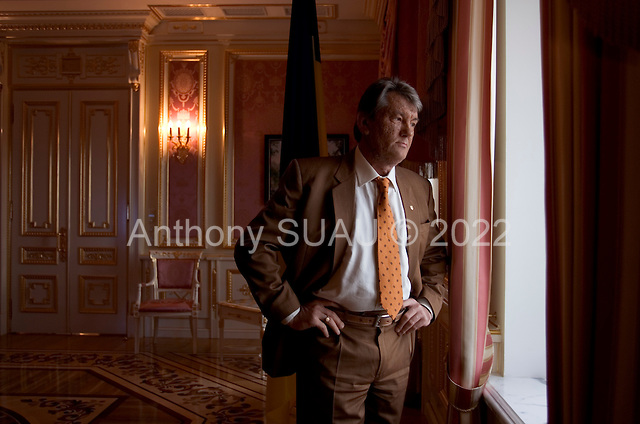 Kiev, Ukraine.September 2, 2005 ..Ukraine President Victor Yushchenko looks out the window onto the Maidan from his office.