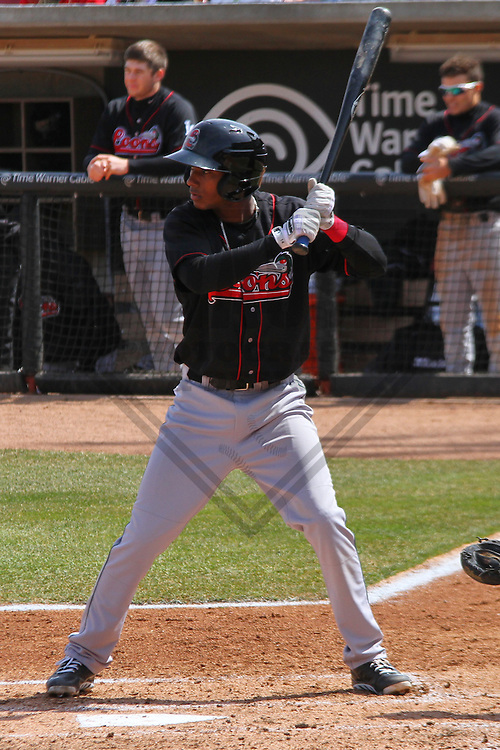 GRAND CHUTE - April 2014: Delvis Morales (12) of the Great Lakes Loons during a game against the Wisconsin Timber Rattlers on April 19th, 2014 at Fox Cities Stadium in Grand Chute, Wisconsin.  (Photo Credit: Brad Krause)