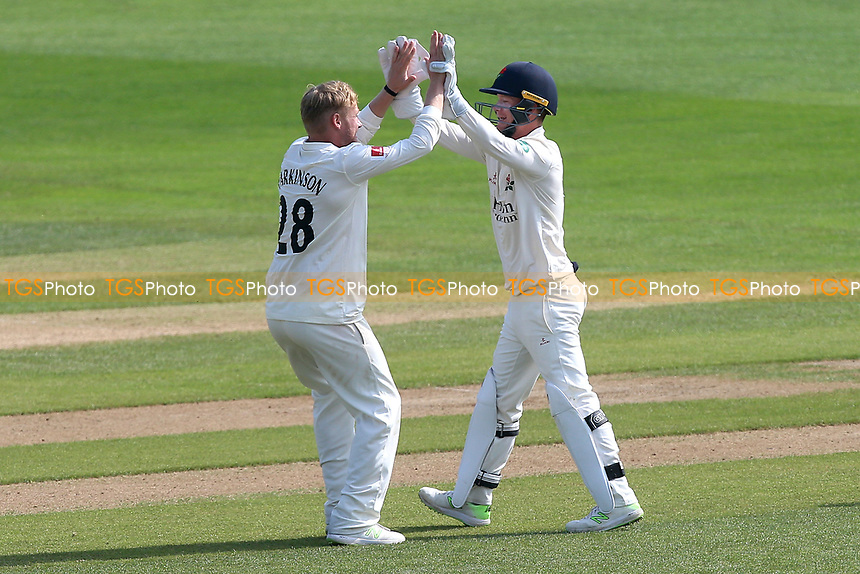 Matt Parkinson of Lancashire celebrates taking the wicket of Tom Westley during Essex CCC vs Lancashire CCC, Specsavers County Championship Division 1 Cricket at The Cloudfm County Ground on 21st April 2018