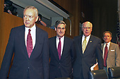 From left to right: United States Senator Orrin Hatch (Republican of Utah), Director-designate,Robert S. Mueller, III, Federal Bureau of Investigation (FBI), United States Senator Patrick Leahy (Democrat of Vermont), and US Senator Arlen Specter (Republican of Pennsylvania) enter the hearing room for Mueller's confirmation hearing before the US Senate Judiciary Committee on Capitol Hill in Washington, DC on July 30, 2001. If confirmed, Mueller will succeed Louis J. Freeh.<br /> Credit: Ron Sachs / CNP