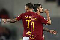 Football, Serie A: AS Roma - Parma, Olympic stadium, Rome, May 26, 2019. <br /> Roma's Lorenzo Pellegrini (r) celebrates after scoring during the Italian Serie A football match between Roma and Parma at Olympic stadium in Rome, on May 26, 2019.<br /> UPDATE IMAGES PRESS/Isabella Bonotto