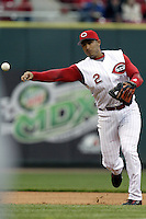 03 April 2006: Cincinnati Red's Felipe Lopez makes a play against the Chicago Cubs during the Reds' home opener at Great American Ballpark in Cincinnati, Ohio.<br />